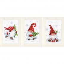 Kit de carte à broder  - Vervaco - Gnomes de Noël dans la neige