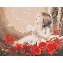 Kit de peinture par numéro - Vervaco - Fille dans un champ de coquelicots