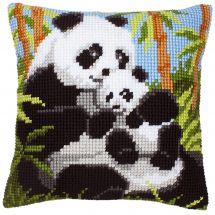 Kit de coussin gros trous - Vervaco - Famille de pandas