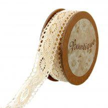 Dentelle en bobine - Bowtique - Ruban dentelle en coton écru - 20 mm