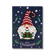 Carte broderie Diamant - Wizardi - Merry Christmas - Gnome