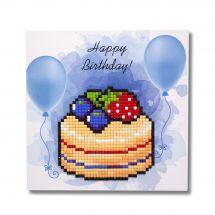 Carte broderie Diamant - Wizardi - Happy birthday - Gâteau
