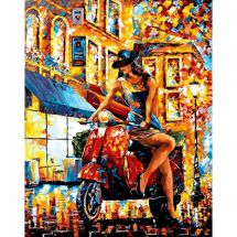 Kit de broderie Diamant - Wizardi - Jeune femme au scooter