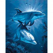 Kit de broderie Diamant - Wizardi - Rencontre des dauphins