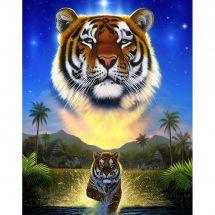Kit de broderie Diamant - Wizardi - Tigre du lac