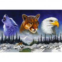 Kit de broderie Diamant - Wizardi - La faune américaine