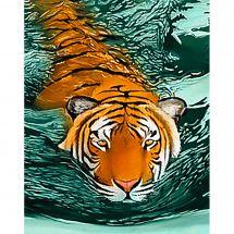 Kit de broderie Diamant - Wizardi - Tigre dans l'eau