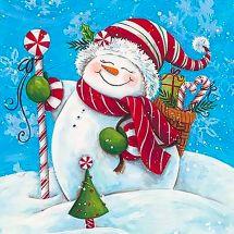 Kit de broderie Diamant - Wizardi - Bonhomme de neige avec cadeaux