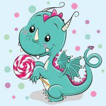 Kit de broderie Diamant - Wizardi - Dragon avec bonbons
