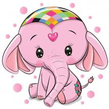 Kit de broderie Diamant - Wizardi - Elephant rose