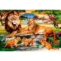 Kit de broderie Diamant - Wizardi - Famille de lions