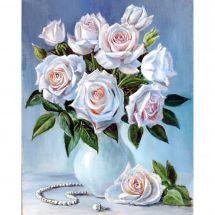 Kit de broderie Diamant - Wizardi - Bouquet de roses blanches