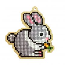 Support bois broderie Diamant - Wizardi - Lapin