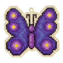 Support bois broderie Diamant - Wizardi - Papillon