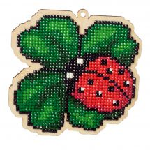 Support bois broderie Diamant - Wizardi - Coccinelle