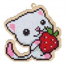 Support bois broderie Diamant - Wizardi - Chaton