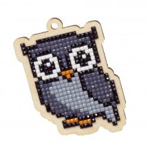 Support bois broderie Diamant - Wizardi - Hibou
