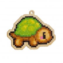 Support bois broderie Diamant - Wizardi - Tortue