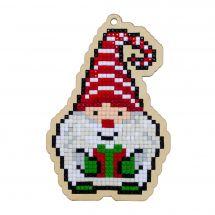 Support bois broderie Diamant - Wizardi - Gnome