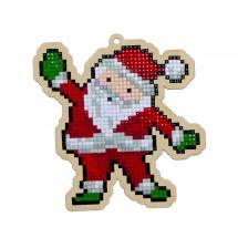 Support bois broderie Diamant - Wizardi - Père Noël