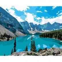 Kit de peinture par numéro - Wizardi - Lac de montagne