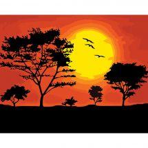 Kit de peinture par numéro - Wizardi - Coucher de soleil