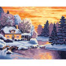 Kit de peinture par numéro - Wizardi - Paysage d'hiver