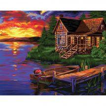 Kit de peinture par numéro - Wizardi - Soirée au port