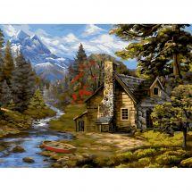 Kit de peinture par numéro - Wizardi - Cabane forestière