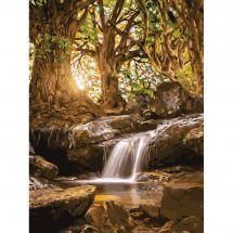 Kit de peinture par numéro - Wizardi - Ruisseau forestier