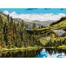 Kit de peinture par numéro - Wizardi - Maison dans les collines