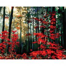 Kit de peinture par numéro - Wizardi - Un matin d'automne dans la forêt