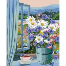 Kit de peinture par numéro - Wizardi - Bouquet à la fenêtre