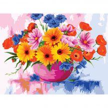 Kit de peinture par numéro - Wizardi - Fleurs des champs