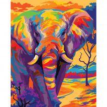 Kit de peinture par numéro - Wizardi - Eléphant coloré