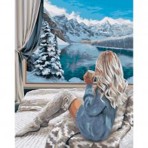 Kit de peinture par numéro - Wizardi - Vue sur la montagne