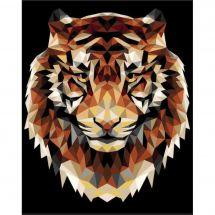 Kit de peinture par numéro - Wizardi - Tigre polygonal