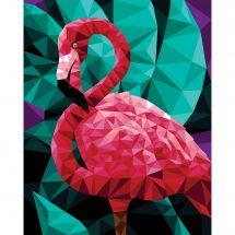 Kit de peinture par numéro - Wizardi - Flamant rose polygonal