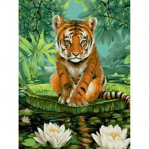 Kit de peinture par numéro - Wizardi - Tigre et fleurs de lotus